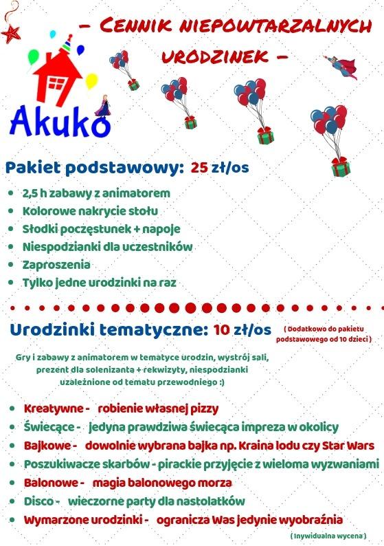 Cennik Akuko - urodziny sala zabaw