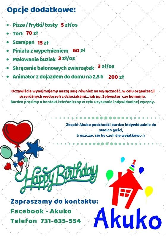 Cennik Akuko - urodziny w sali zabaw